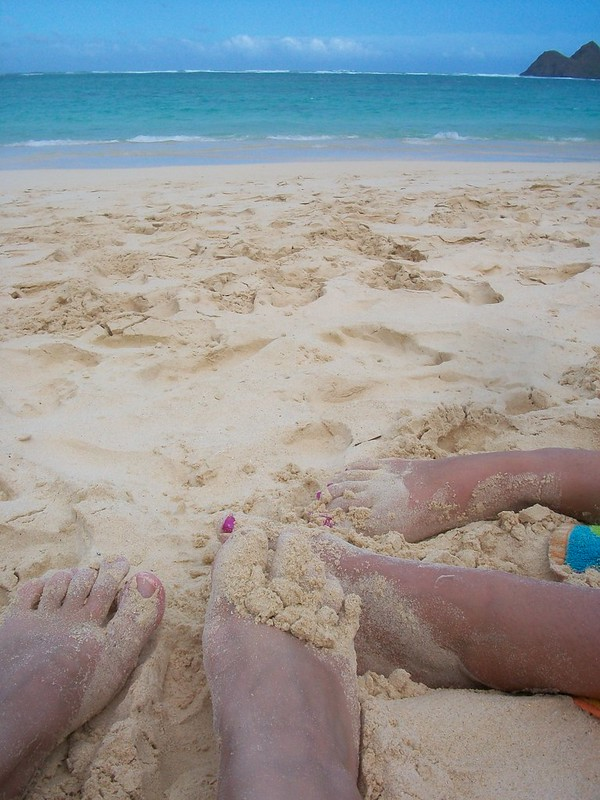 Jen and I dug our feet into the fine, white sand for a photo with the ocean in the background.