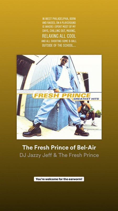 screenshot of the beginning lyrics for Fresh Prince of Bel-Air