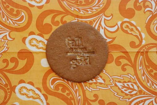 stamped cookie that has been lightly dusted with pearl dust