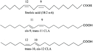 Figure 1. Structure of linoleic acid, cis-9, trans-11 CLA and trans-10, cis-12 CLA, adapted from Evans et al., 2002 [33].