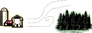 Figure 2. Trees can dissipate odor by forcing the plume to elevate and stir.