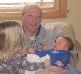 Uncle Bob with his great-niece and great-nephew (Lindsay's children)