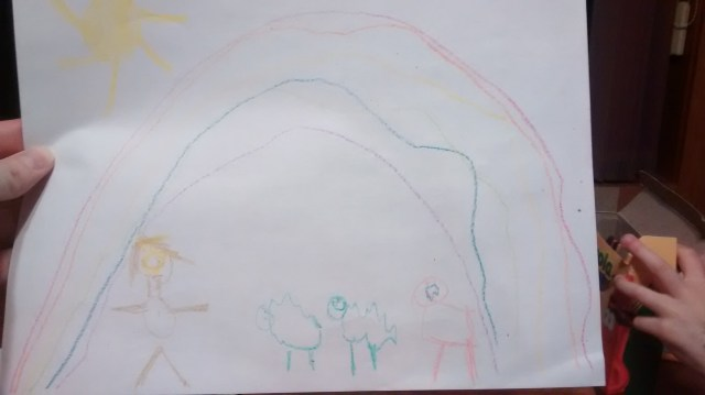 "Bonus Picture, if you made it all the way to the end of this long post! My daughter had to draw a picture of ""The Boy Who Cried Wolf."" I never knew that was such a happy story...?"