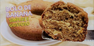 bolo de banana simples e fofinho