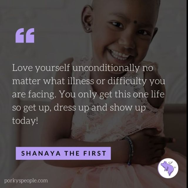 An Inspirational quote from Shanaya who lost her battle with Cancer.