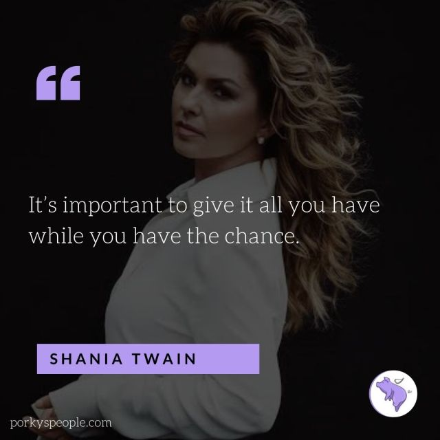 An inspirational quote from Shania  Twain about taking chances.