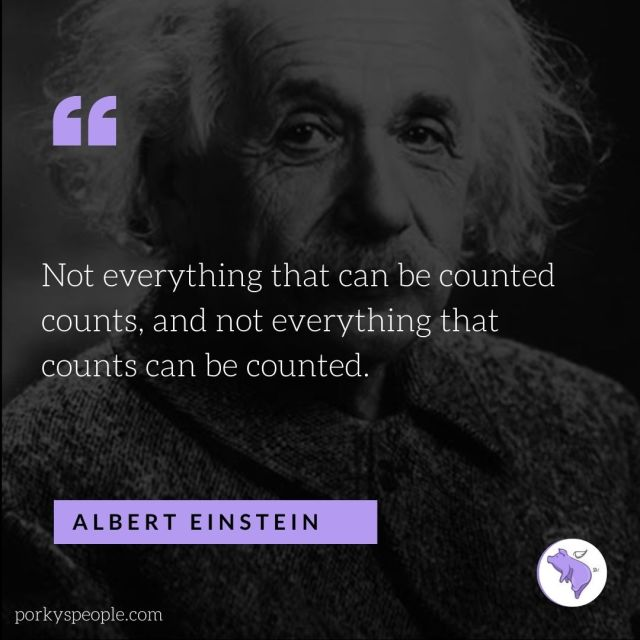 An inspirational quote from Albert Einstein about knowing what matters in life.