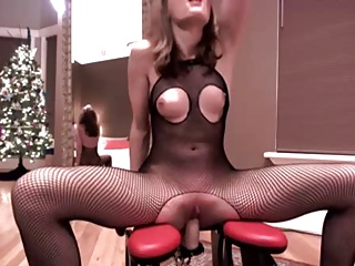 rocking chair with dildo boon flair high hot slut riding toy in fishnet bodysuit