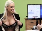 LOAN4K. Busty blonde Blanche gives herself to loan