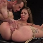 Tied up brunette choked and fucked roughly
