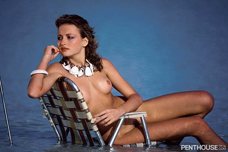 Janet Sharpe posing nude for the June 1983 issue of Penthouse