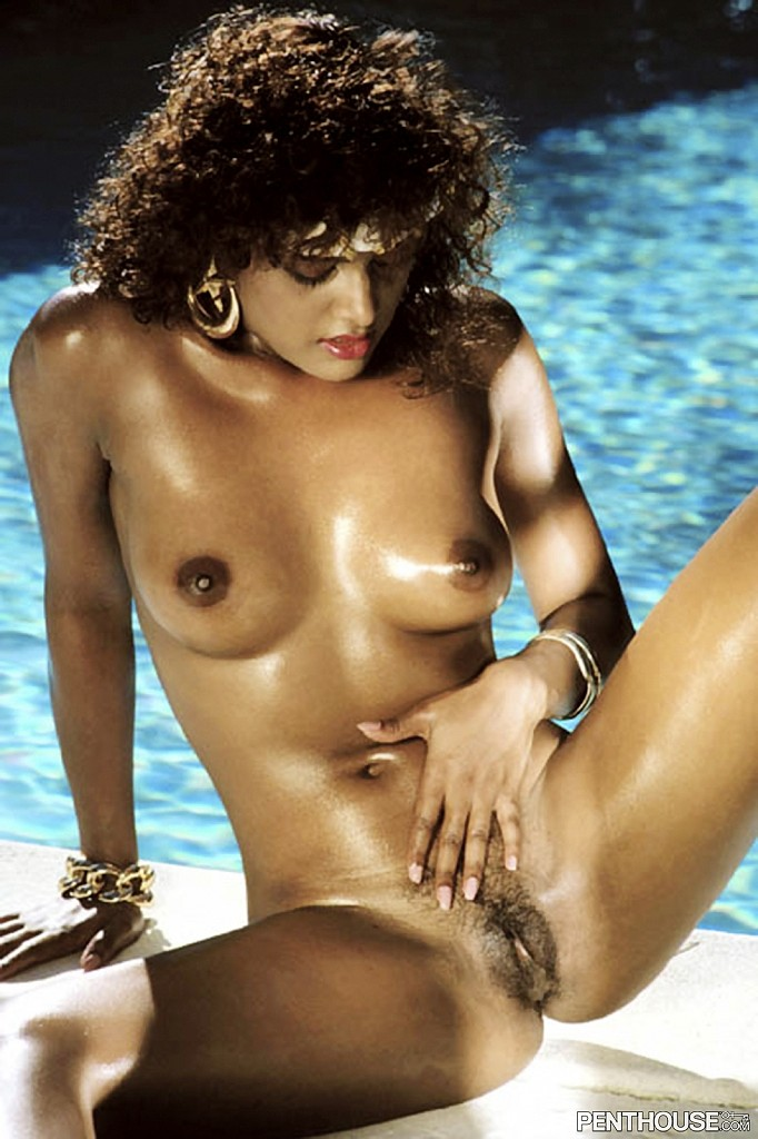 Jenna Persaud posing nude for the April 1987 issue of Penthouse