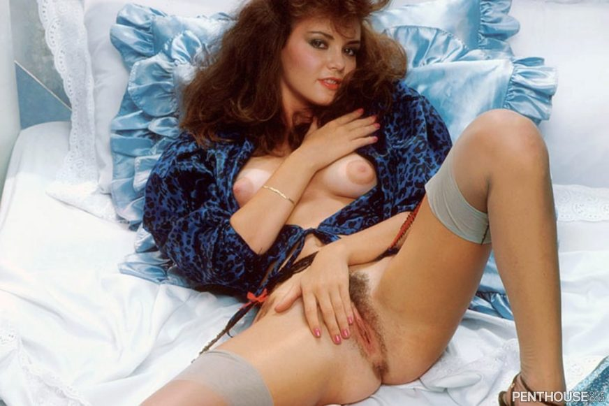 Jennifer James posing nude for the October 1985 issue of Penthouse