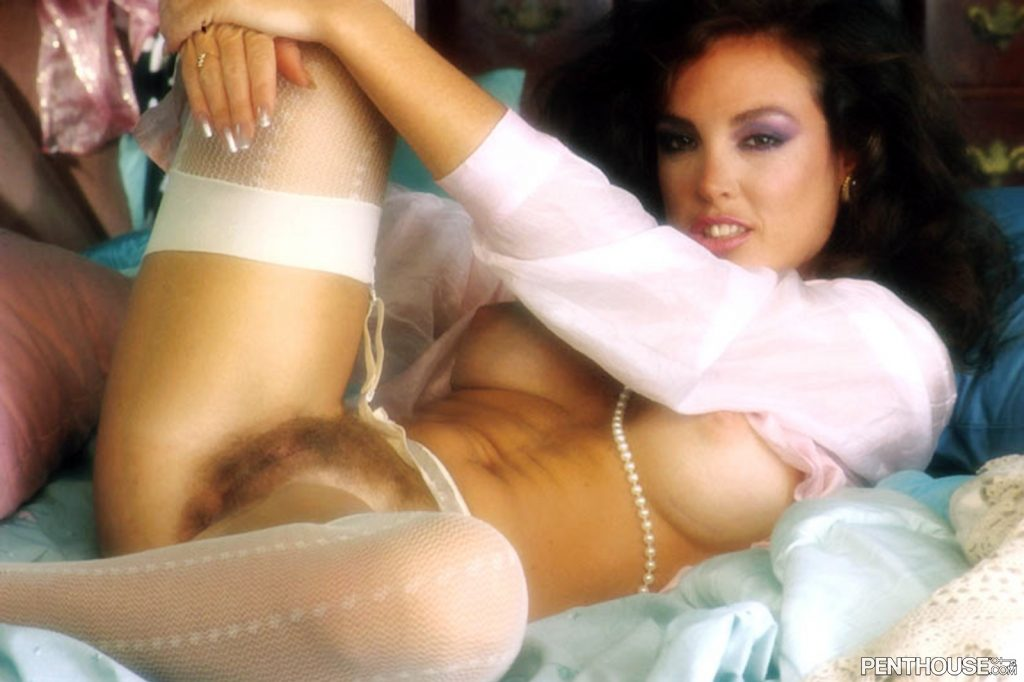 Loretta Ybarra posing nude for the February 1983 issue of Penthouse