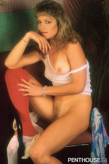Margo Chapman posing nude for the January 1987 issue of Penthouse