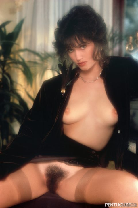 Mary Knight posing nude for the March 1980 issue of Penthouse