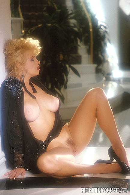 Robin Brown posing nude for the April 1992 issue of Penthouse
