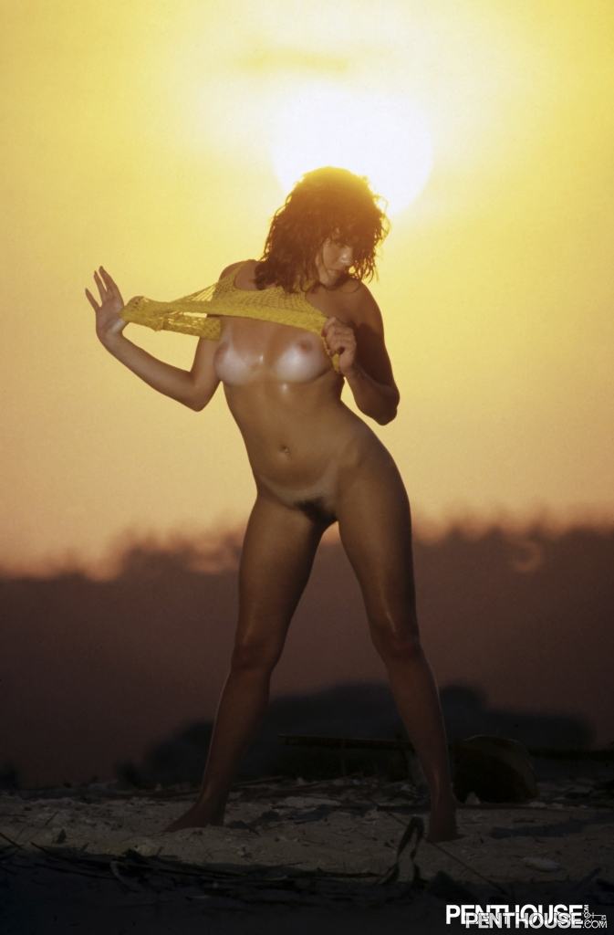 Stacy Cole posing nude for the July 1984 issue of Penthouse