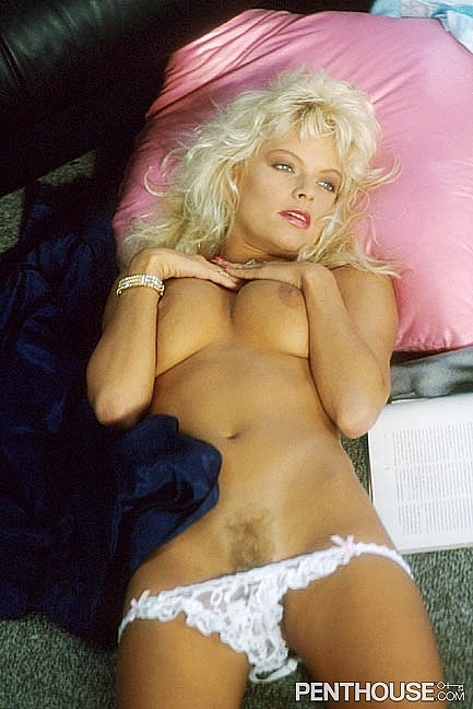 Sunny Woods posing nude for the March 1989 issue of Penthouse