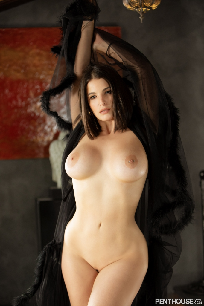 LaSirena69 stripping nude out of lingerie in her February 2021 Penthouse Pet Of The Month photo spread 008
