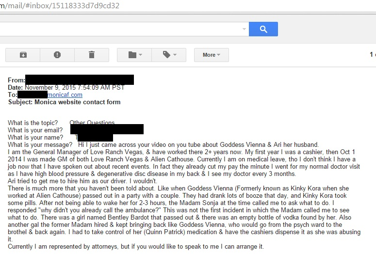 "Screen shot of the email I received from a Dennis Hof ""insider"""