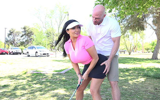 Gets A Lesson In Golf And Getting Rammed By Fat Cock with Romi Rain