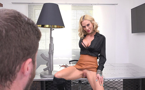 Lets Her Personal Assistant Worship Her Pussy To Keep His Job with Sarah Jessie