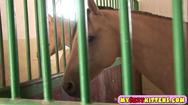 video relacionado Jovencita se masturba mirando la polla de un caballo