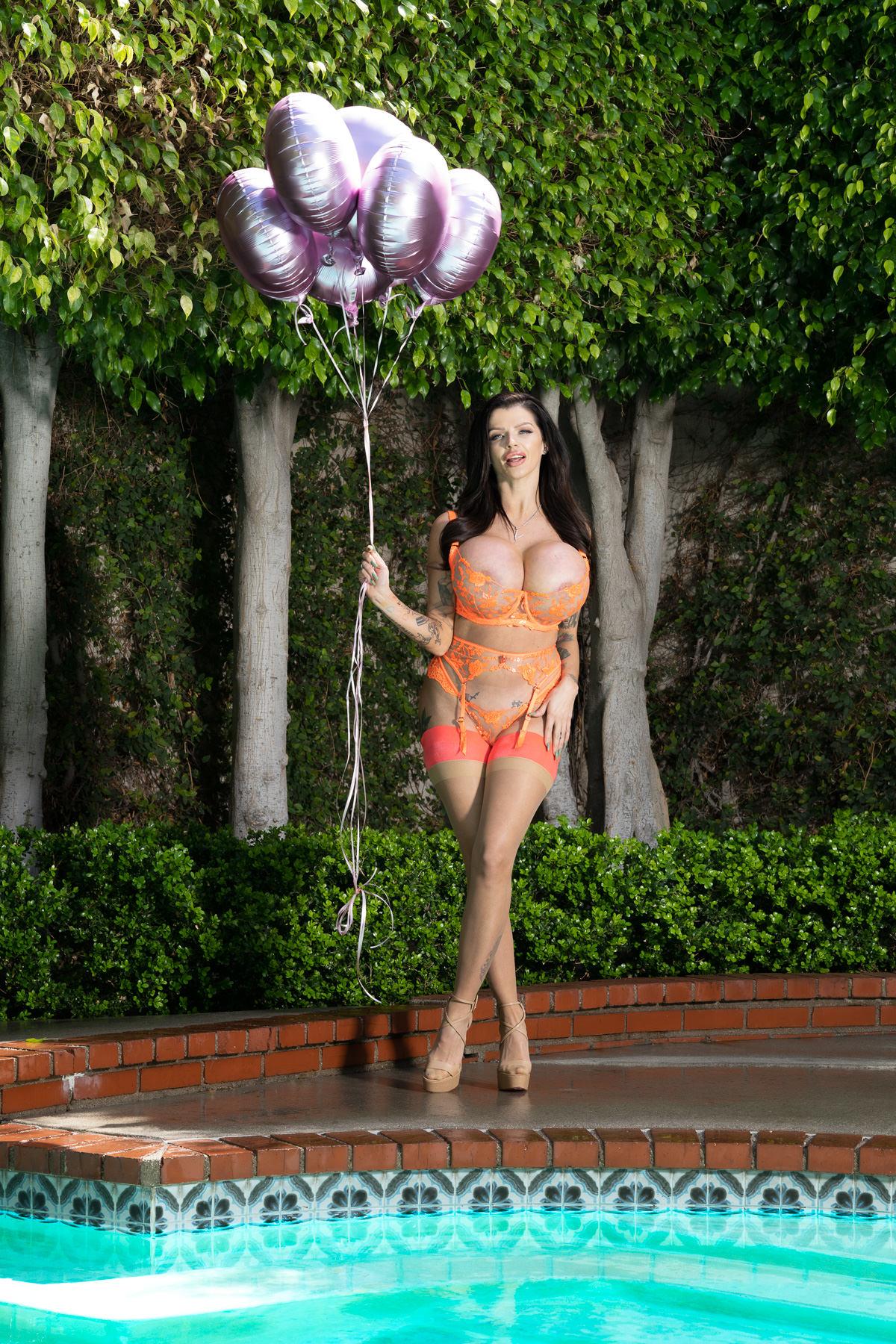 big boobs with balloons
