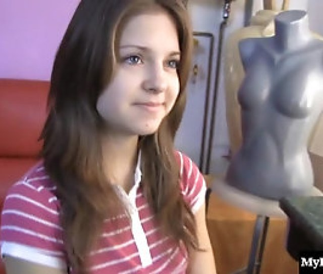 Erotic Teen With Natural Tits Comes To Casting And Masturbates