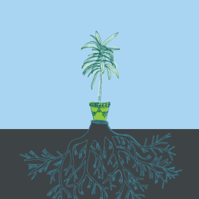Cartaz: Vasos substituem árvores cortadas