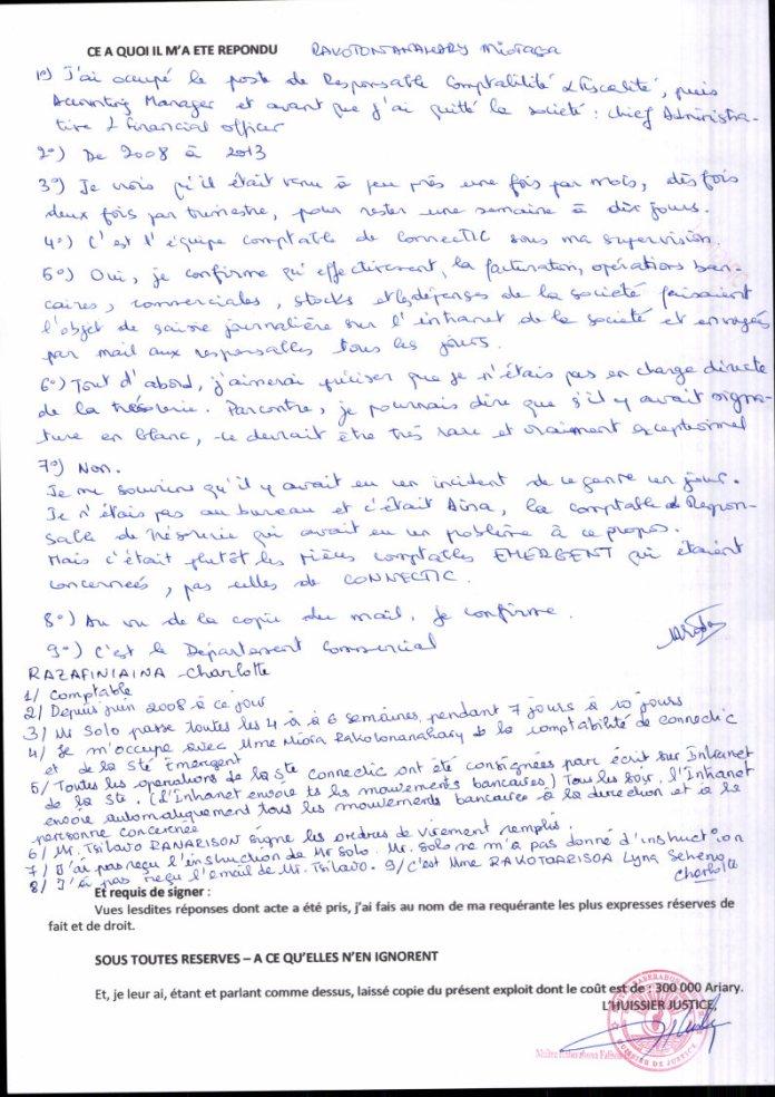 Constat dhuissier il ny a pas dordre de virement signé à blanc chez CONNECTIC Page2 - Les 76 virements internationaux de 1.047.060 euros que RANARISON Tsilavo considèrent comme illicites ont une contre partie et les 76 OVs ont été signés par le plaignant lui-même : la preuve complète est ici !