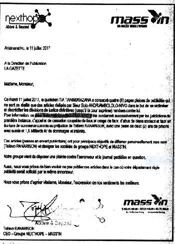 RANARISON Tsilavo Menace de procès pour diffamation pour ceux qui osent évoquer cette affaire - La totalité des décisions de justice condamnant Solo