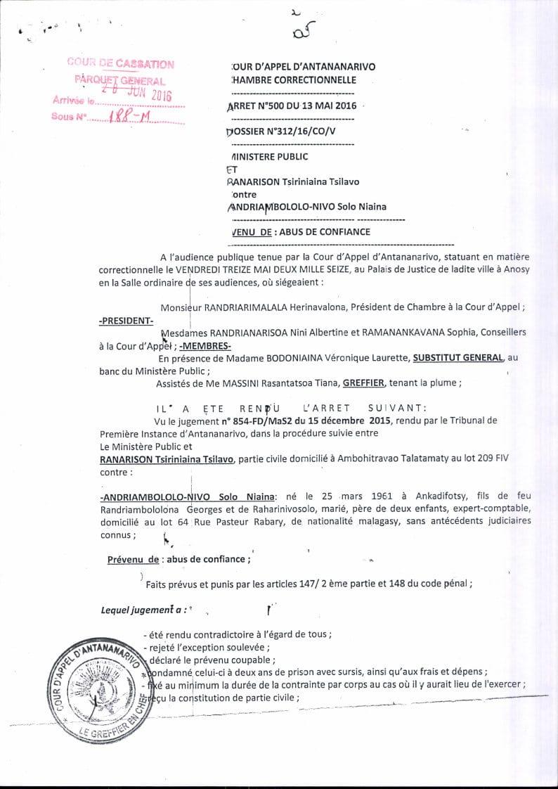 RANARISON Tsilavo contre Solo arret cour dappel antananarivo du 13 mai 2016 Page1 - Décisions de justice sur l'affaire de Solo