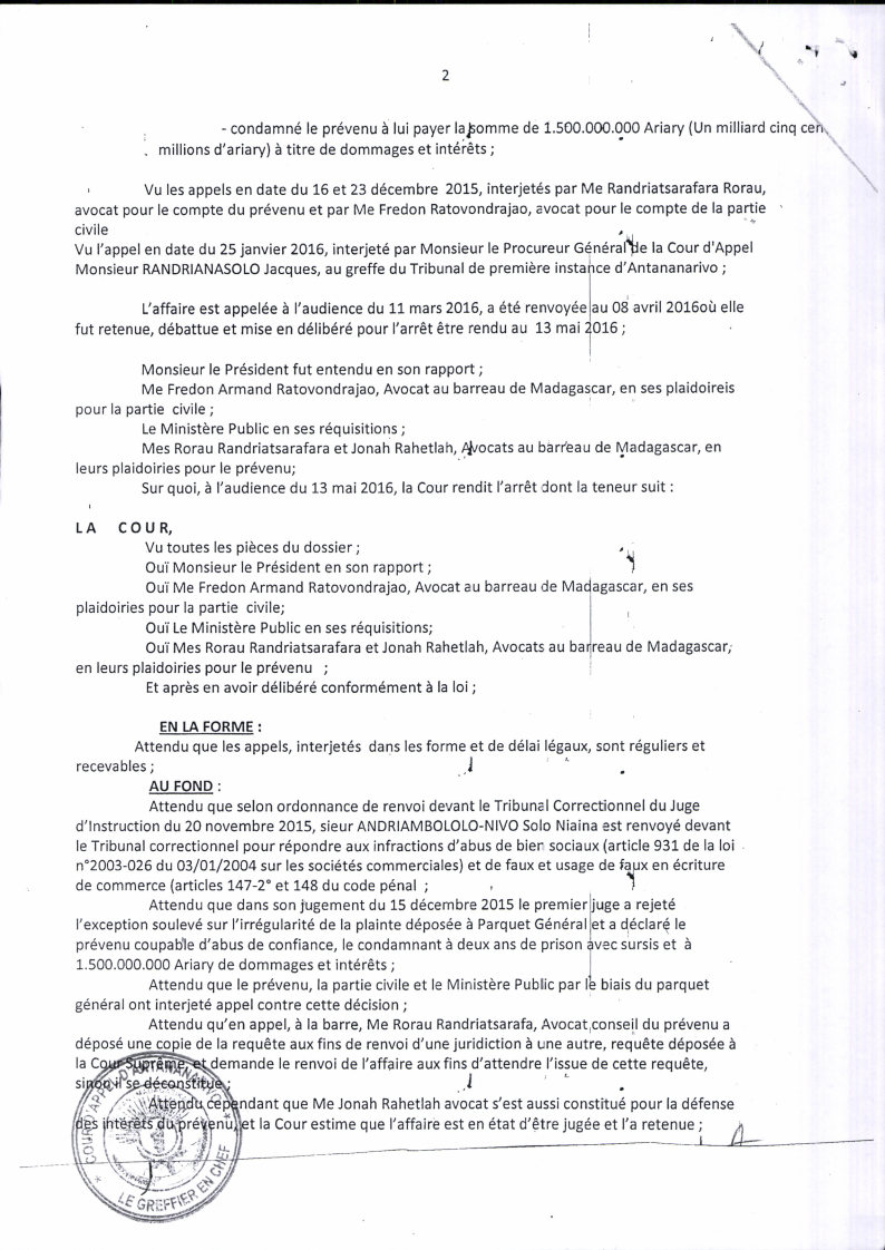 RANARISON Tsilavo contre Solo arret cour dappel antananarivo du 13 mai 2016 Page2 - A vous de juger avec la totalité des jugements rendus par les Tribunaux et les Cours à Madagascar