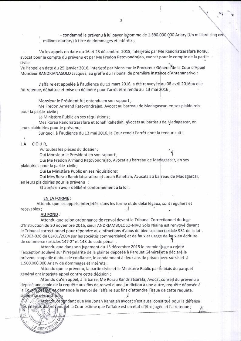 RANARISON Tsilavo contre Solo arret cour dappel antananarivo du 13 mai 2016 Page2 - La totalité des décisions de justice condamnant Solo