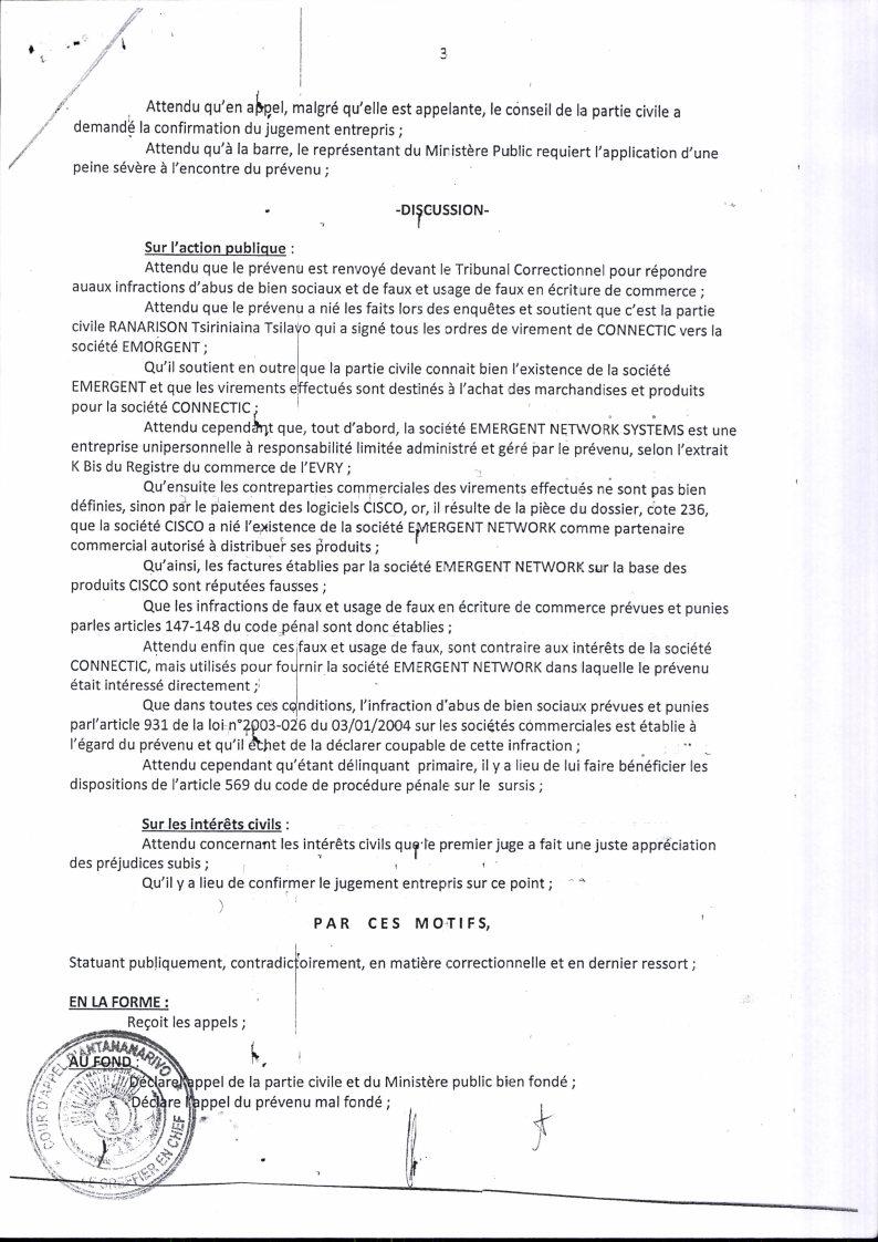 RANARISON Tsilavo contre Solo arret cour dappel antananarivo du 13 mai 2016 Page3 - A vous de juger avec la totalité des jugements rendus par les Tribunaux et les Cours à Madagascar