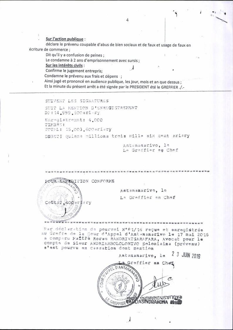 RANARISON Tsilavo contre Solo arret cour dappel antananarivo du 13 mai 2016 Page4 - Décisions de justice sur l'affaire de Solo