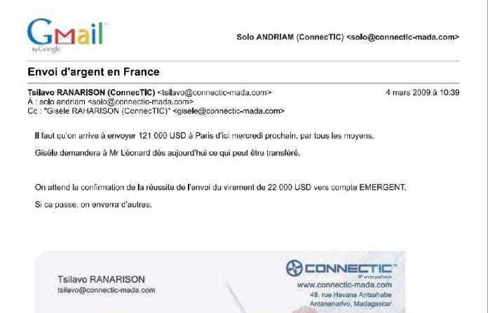 RANARISON Tsilavo envoie un virement à EMERGENT le 4 mars 2009 - RANARISON Tsilavo a établi la première facture IOS (licence ou logiciel CISCO) d'EMERGENT pour CONNECTIC Madagascar