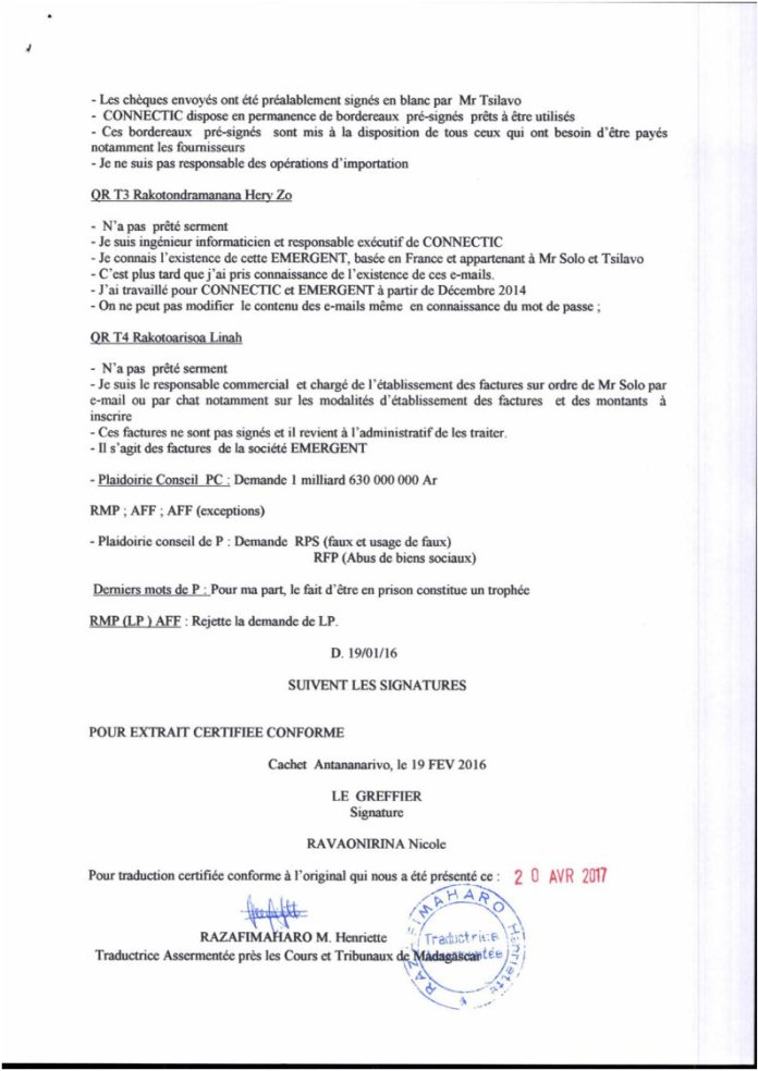RANARISON Tsilavo traduction en français du Plumitif du 8 décembre 2015 Page3 - La totalité des décisions de justice condamnant Solo