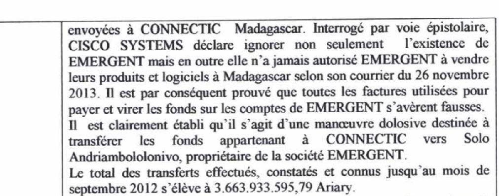 Traduction française de RANARISON Tsilavo auprès de la police économique du 22 juillet 2015 - Le grossiste WESTCON autorisé par CISCO de vendre des produits CISCO à EMERGENT qui les cède à CONNECTIC