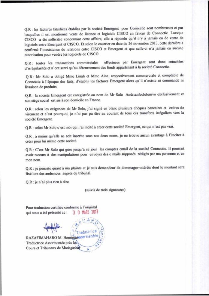 VM et VF PV juge dinstruction RAnarison Tsilavo du 3 septembre 2015 Page4 - RANARISON Tsilavo a établi la première facture IOS (licence ou logiciel CISCO) d'EMERGENT pour CONNECTIC Madagascar