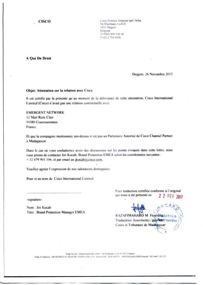 attestation cisco du 26 novembre 2013 traduite par RAZAFIMAHARO - Décisions de justice sur l'affaire de Solo
