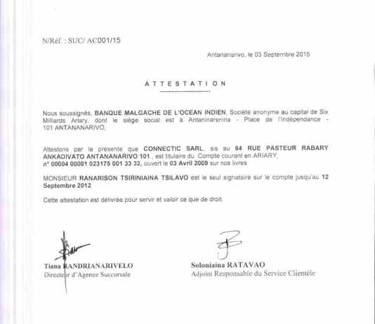 Attestation BMOI RANARISON Tsilavo est le seul signataire 3 sept 2015 - Home