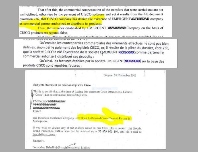 CISCO comparaison attestation de CISCO et justification cour appel antananarivo 13 mai 2016 - RANARISON Tsilavo a dit au grossiste CISCO de facturer EMERGENT la maison mère de CONNECTIC pour les achats de produits CISCO de CONNECTIC.