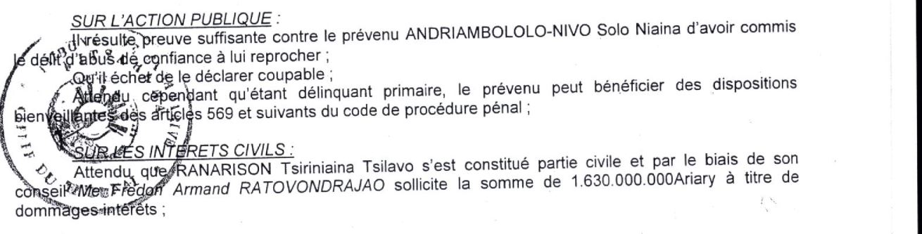 Le juge dit quil existe de preuve suffisante pour condamner Solo - Le jugement du tribunal correctionnel du 15 décembre 2015 n'a pas de motif