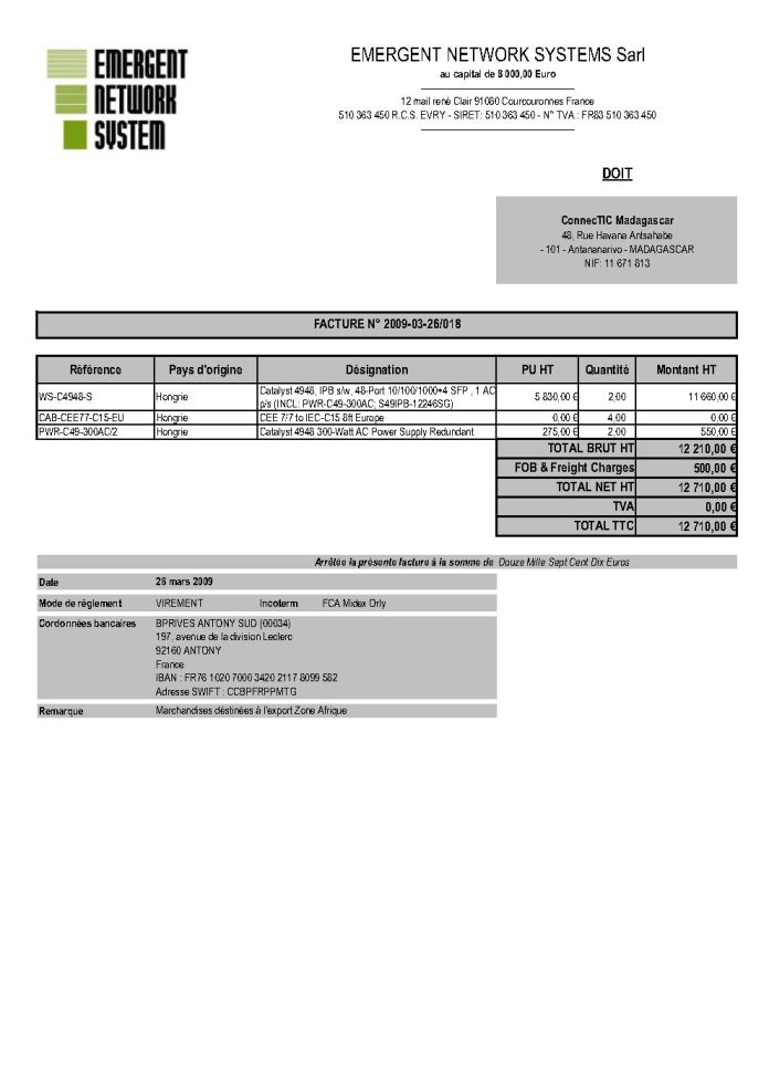 RANARISON Tsilavo établit EMERGENT pour le dossier BMOI 2 - Ce n'est qu'en septembre 2012, que RANARISON Tsilavo reçoit la confirmation que la société française EMERGENT NETWORK appartient exclusivement à Solo