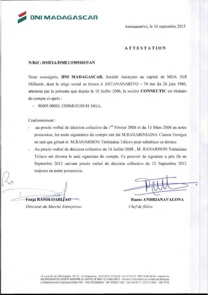 RANARISON Tsilavo est lunique signataire des BNI de CONNECTIC - RANARISON Tsilavo assigne Solo en diffamation au TGI d'Evry (France) le 19 septembre 2017 reporté le 14 novembre 2017