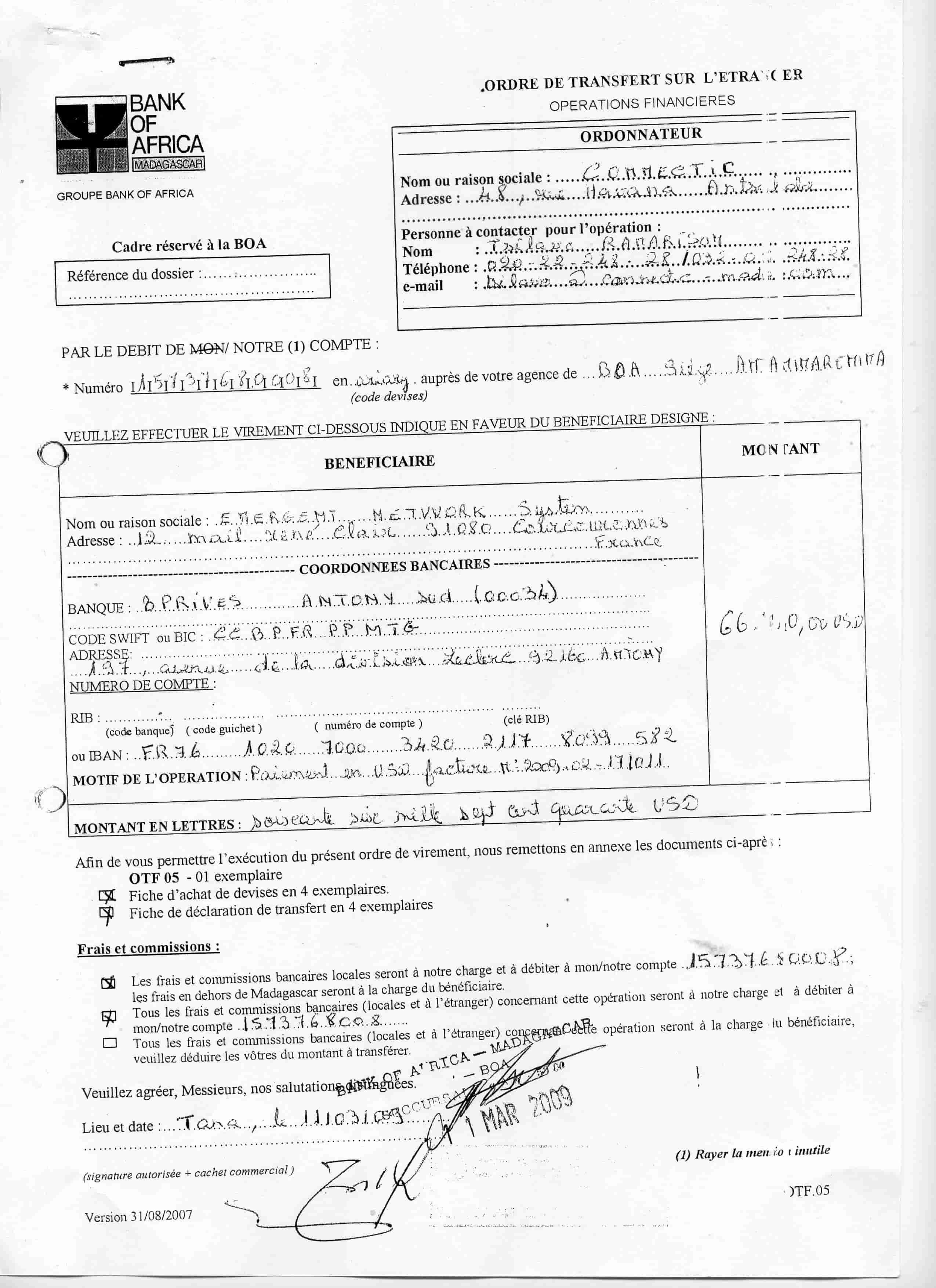 Virement 2009 signé par RANARISON Tsilavo 2 min 1 - En 2009, RANARISON Tsilavo a signé TOUS les ordres de virements bancaires de CONNECTIC Madagascar  vers EMERGENT