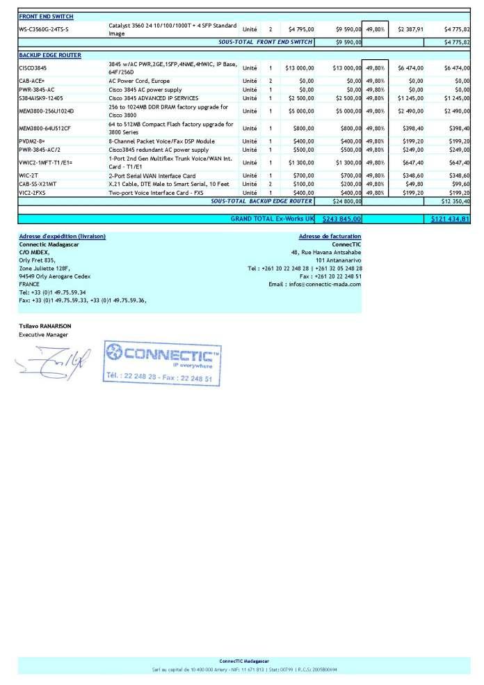 RANARISON Tsilavo signe le bon de commende WESTCON Order Refonte LAN BMOI Page 2 - En février 2009, RANARISON Tsilavo établit le premier bon de commande des produits CISCO  achetés à la société WESTCON Africa COMSTOR par EMERGENT NETWORK